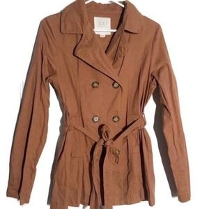 Forever 21 Brown Rust Collared Trench Coat w tie M